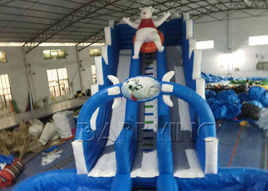 Blue Lazy Bear Slide Inflatable Komersial Dengan Kolam Renang, Giant Inflatable Water Slide pemasok