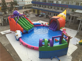 Giant Outdoor Inflatable Water Park, Anak Kustom Octopus Water Slide pemasok