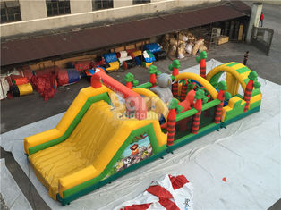 Challenging Inflatable Obstacle Course Bounce House Red , Blue , Black