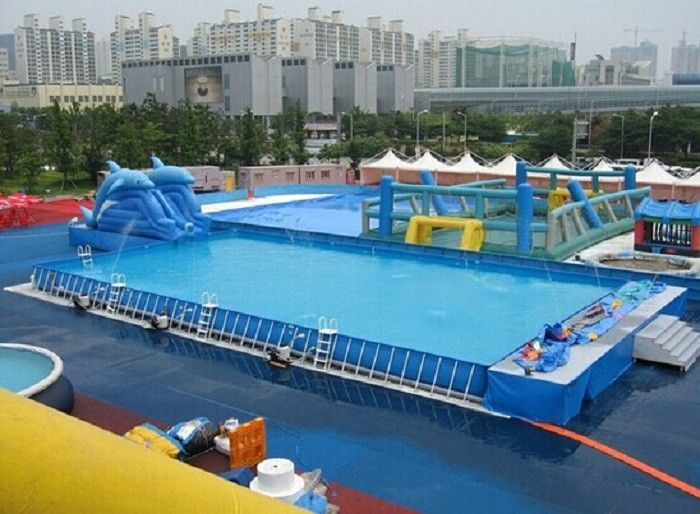 Cina Durable Backyard Ground Metal Frame Renang Biru Inflatable Kolam Renang 0.9 PVC Tarpaulin pabrik