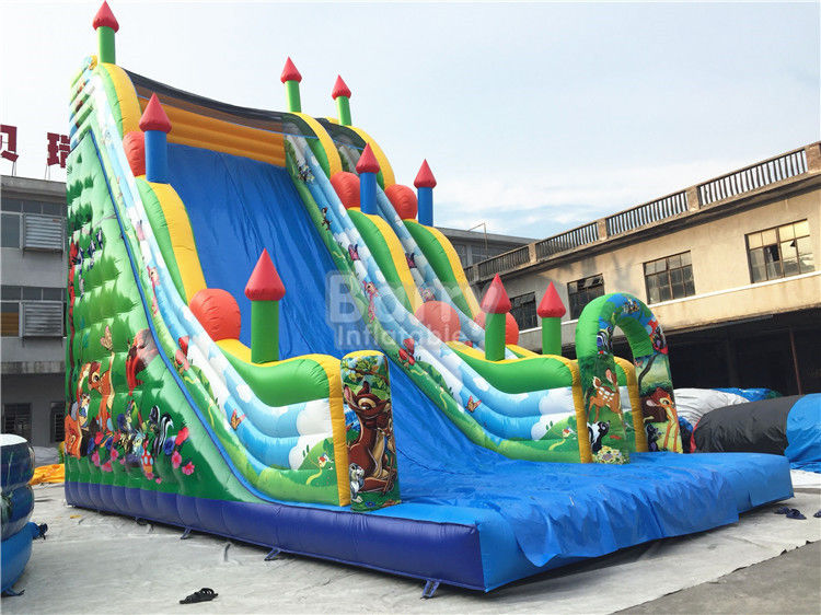 11X6X9m Slide Inflatable Komersial, PVC Tarpaulin Blow Up Jumping Castle