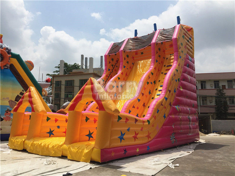 Cina Custom Made Kids Inflatable Slide Single Lane Kuning 12x7x10m pabrik