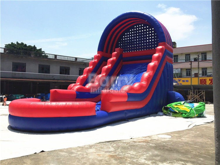Summer Kids / Adult Inflatable Water Slides Dengan Blower Biru Dan Merah