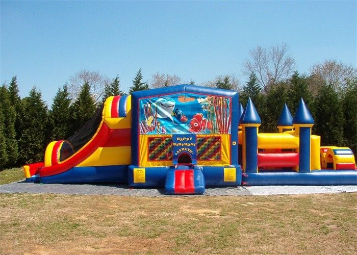 Durable Commercial Bounce House Hambatan Kursus Untuk Dewasa Inflatable Games